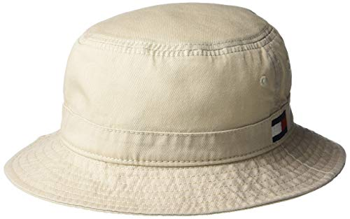 (Tommy Hilfiger Men's Ardin Bucket Hat, Stone, S/M)