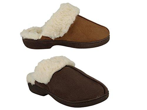 Ladies Jyoti Wendy Faux Suede Fur Lined Slipper Mules Shoe Size 3-8 Dk Brown lnFUqhrHAN