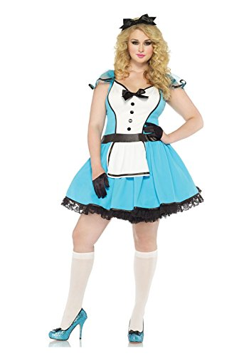 [Leg Avenue Women's Plus-Size 2 Piece Storybook Alice Costume, Blue/White, 1X/2X] (Used Plus Size Halloween Costumes)