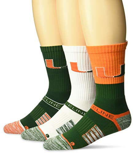 2009 Miami Hurricanes Football - NCAA Men's  Miami Hurricanes Strideline Crew Socks 3 Pack , Team Color , One Size