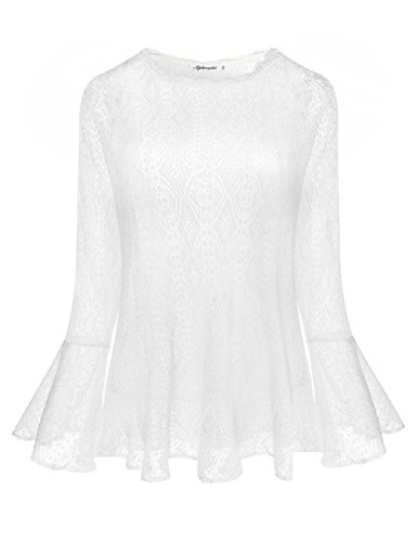 Aphratti Women's Cute Long Bell Sleeve Casual Lace Tunic Top White X-Large