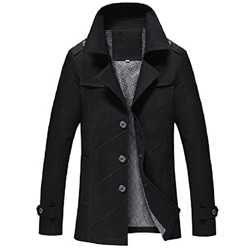 Howme Mens Outwear Jacket Open Windbreaker Buttoned Front Classic Black Fit Silm SqCxrwSZ