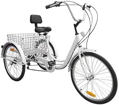 Aboyia 24Tricycle Adulte Tricycle Shopping Noir Dossier 7 Vitesses Pliable 6 Vitesses Tricycle v/élo tri-Bike 3 v/élos pour Adultes Seniors Adultes