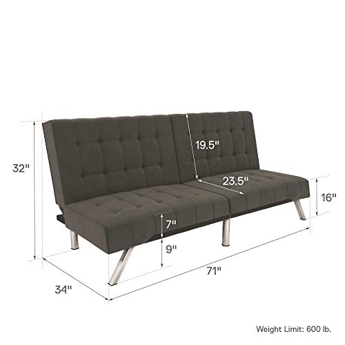 DHP Emily Bed, Design Includes Sturdy Legs and Grey