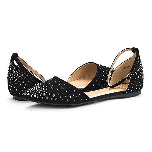 DREAM PAIRS Damen FLAPOINTED-New D'Orsay Ballerinas Schuhe Glanz-schwarz
