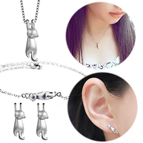 Cat Studs Earring Necklace Mini Ear Crawler Climbers Cute Kitten Collarbone Necklace Matte Charms Jewelry Earrings Necklace Brecelet Set -