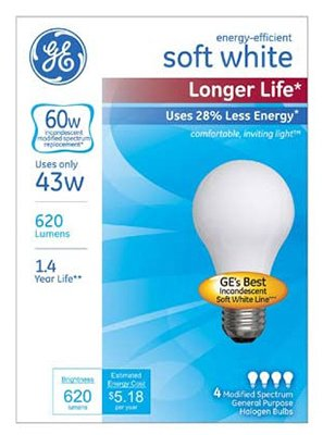 GE Lighting Energy-Efficient Soft White Long Life Light Bulb with Medium Base, 4-Pack