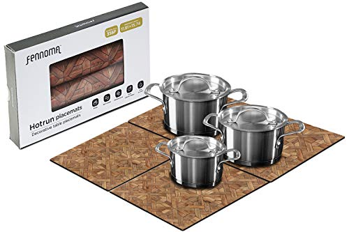 HOTRUN modular table runner placemat set– Extendable table cover holds pots and tableware – Protects surfaces– Anti-slip material handles up to 356 degrees F – Multi-use party set (Classic wood )
