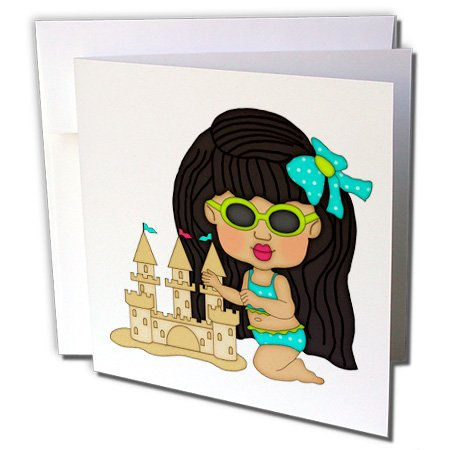 3dRose Anne Marie Baugh - Beach - Cute Little Dark Haired Girl In A Swimsuit Building A Sand Castle - 1 Greeting Card with envelope (gc_215466_5)