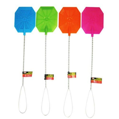 Fly Swatter with Metal Wire Handle 4 Piece Assorted Colors