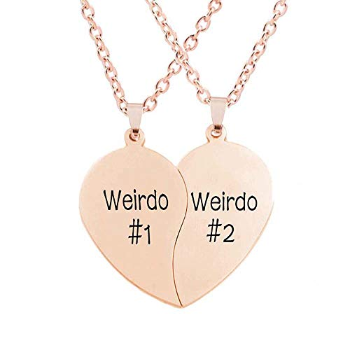 MJartoria Best Friend Necklaces BFF Necklaces for 2 Split Heart Weirdo 1 Weirdo 2 Best Friends Forever Pendant Friendship Set (Weirdo-Rose Gold)