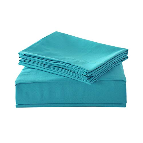 HollyHOME 1500 Soft Hypoallergenic Brushed Microfiber Bed Sheet Set, 3 Pieces Twin Size Sheets, Teal (Teal Sheet)