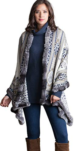 Lillian Cashmere-Blend Shawl with Rex Rabbit Fur Trim for sale  Delivered anywhere in USA