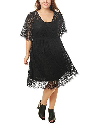 uxcell Women's Plus Size Self Tie Waist Floral Lace Wrap Front Dress Black 1X
