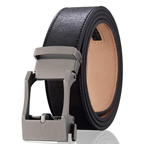 Graceful Double Rows - Men's Dress Adjustable Ratchet Belt - Black Leather Belts Automatic Buckle Solid Zine-Alloy