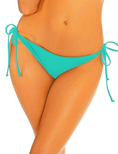 COLO Women Bikinis Bottoms Adjustable Ruched Butt Back Ruffle Cheeky Thong Underwear XL Blue