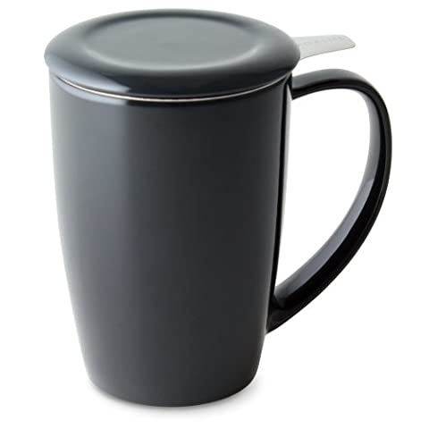 FORLIFE Curve Tall Tea Mug with Infuser and Lid 15 ounces, Black Graphite