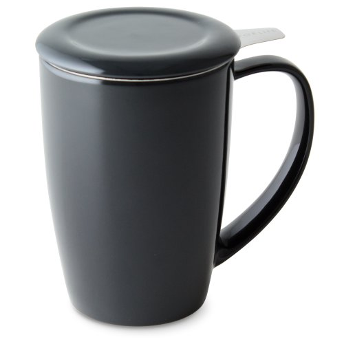 (FORLIFE Curve Tall Tea Mug with Infuser and Lid 15 ounces, Black Graphite)
