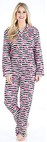 PajamaMania Women's Cotton Flannel Long Sleeve Pajamas PJ Set- Stripe Floral (PMF1002-2061-SML)
