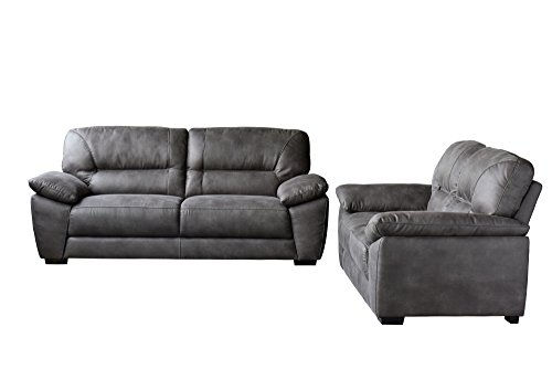 Avanti Dark Grey Soft-Touch Fabric Sofa & Loveseat 2PC Set , Included SOFA, LOVESEAT by Diamond Sofa - # AVANTISLDG by Diamond Furniture