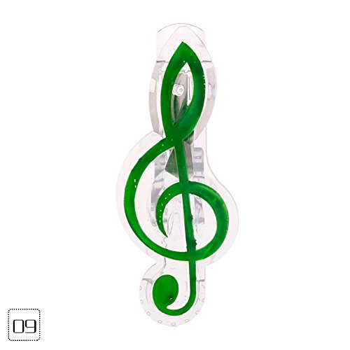 (WXLAA Music Clip Folder Musical Note Piano Book Page Clips Stationery Instruments Tool Clef Green )