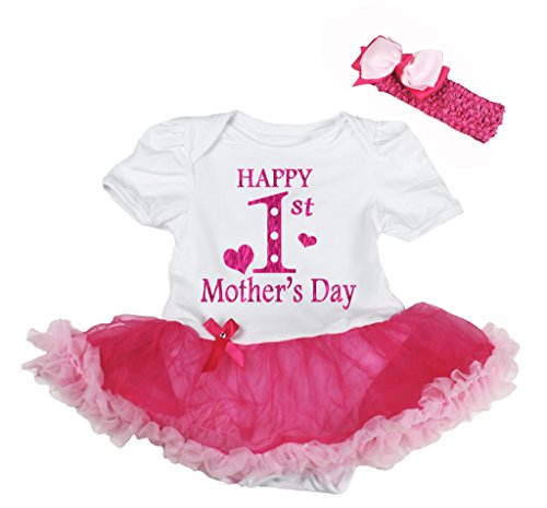 Petitebella Happy 1st Mother's Day White Bodysuit Hot Pink Tutu Nb-18m (6-12 Months) (Mothers Day Button Happy)
