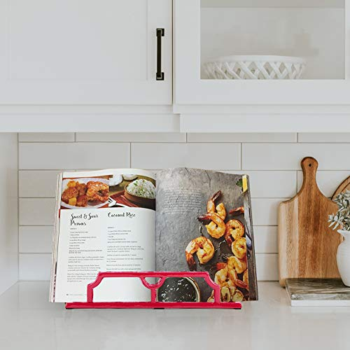 Vintage Cookbook Stand Cast Iron, Decorative Metal Cookbook Recipe Holder for Cookbooks or iPad Stands For Kitchen, Red