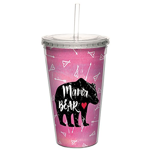 Tree-Free Greetings CC99060 Mama Bear Boho Double-Walled Acrylic Cool Cup with Reusable Straw, 16 Ounce