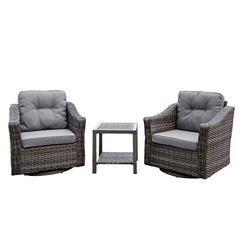 3-Piece Outdoor Wicker Swivel Glider Chair Set with Side Table (Grey)