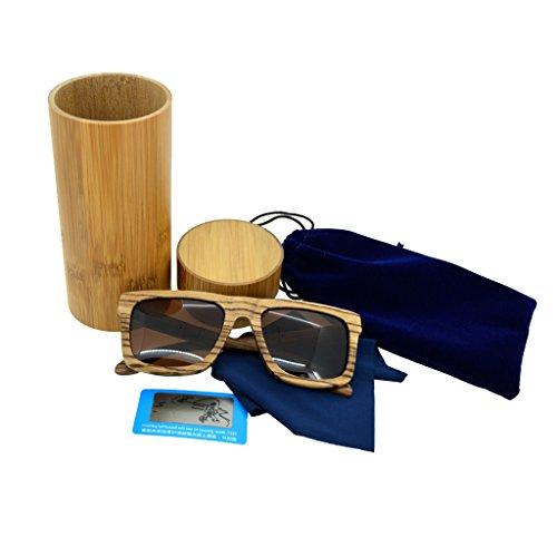 de Bambou Soleil Cadre en en Retro Polarisees 2 Main avec marron Bois Lunettes Baosity Lunettes 5qUwS4x