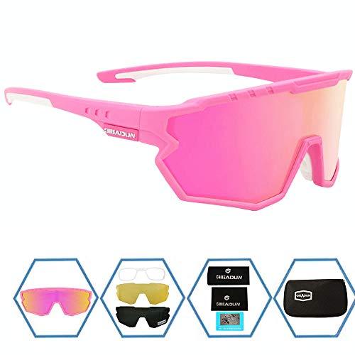 GIEADUN Sports Sunglasses Protection Cycling Glasses Polarized UV400 for Cycling, Baseball,Fishing, Ski Running,Golf (Pink)