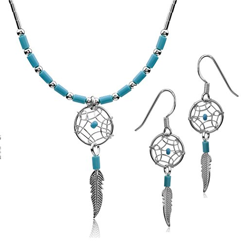 Sterling silver Dream Catcher Turquoise Imitation Small Necklace Feather Earrings Set, ()