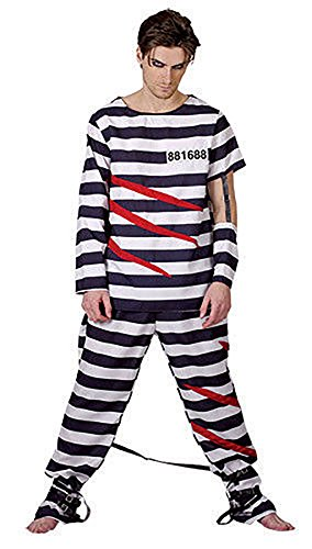Boys Prisoner Criminal Halloween Escape From Alcartraz Fancy Dress Mens Costume#(Escape From Alcartraz DS Costume#One Size#Mens)