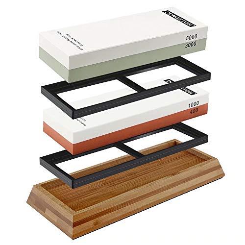 DONGRTON Knife Sharpening Stone Set Premium Whetstone 400/1000 3000/8000 Double Side Grit Waterstone Sharpener Stone Kit Bamboo Base