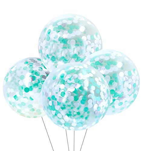 36 inch Round Confetti Balloons Giant Clear Latex Helium Balloons Gender Reveal Party Confetti Balloons Baby Shower Birthday Wedding Bridal Shower Favors Party Decorations