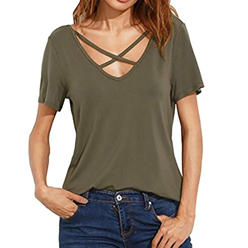 Ikevan Women Short Sleeve V Neck Sexy Strap Solid Casual Basic T-Shirt Top Blouse (Size: S, Green)