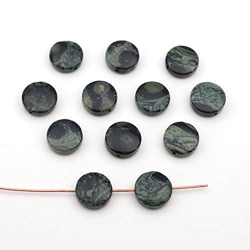 12 Pcs Small Flat Round Black and Green Kambaba Jasper Disk Beads 12mm