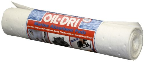 Oil-Dri L90918 White Meltblown Polypropylene Professional Absorbent Oil-Only Pad Roll, 15'' x 60'', Box of 14