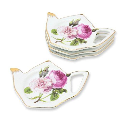 (Grace Teaware Tea Bag Caddy Holder, Set of 4 (Rose)