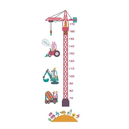 STUDY DIY Children Grows up Height Measurement Growth Chart Measures with Quote Removable Wall Stickers Decals for Baby Kid Room, Removable Nursery Wall Art Decals Stickers (Cartoon Tower Crane)