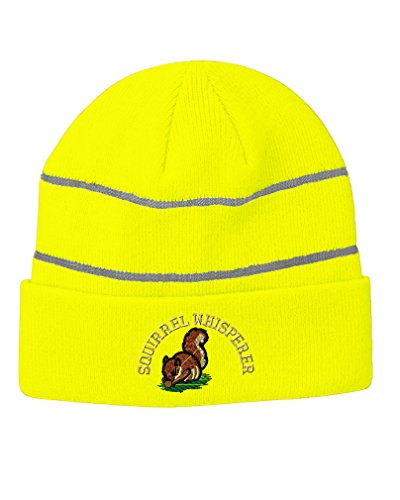 (Speedy Pros Squirrel Whisperer Embroidered Unisex Adult Acrylic Reflective Stripes Beanie Winter Hat - Neon Yellow, One)