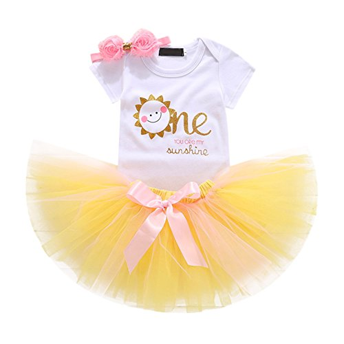 Baby Girl First Birthday Outfits Romper Tutu Skirt Headband Clothes 3PCS Set Cake Smash Photography Prop Smile One