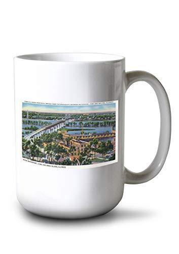Lantern Press Moline, Illinois - Aerial View of Iowa-Illinois Memorial Bridge Over Mississippi River (15oz White Ceramic Mug) ()