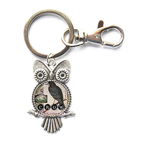 Crow Owl Keychain Bird Key Ring Black Raven Jewelry Glass Dome Key Ring Animal Neckless Gifts for Lover Gothic Men Jewellery,H1115 ()