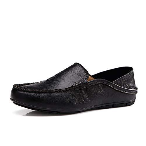 Slip on Casual Men Loafers Mens Moccasins Shoes Genuine Leather Men's Flats Shoes, Black,11.5
