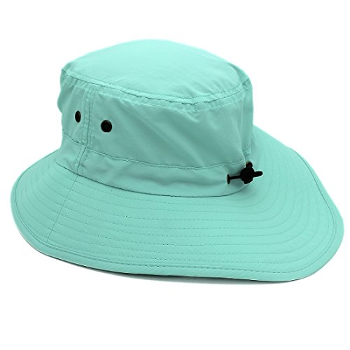 LLmoway Outdoor UPF50+ Summer Sun Cap Lightweight Packable Dry Fit Bora Boonie Hat with Cords AQU by LLmoway (Image #4)