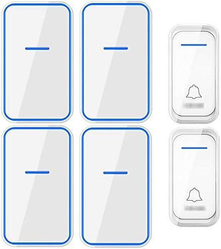 コードレスプラグインドアベル、1000フィート長距離ドアチャイムキット38メロディー4音量レベルの防水電子ドアベル(2つのプッシュボタンと4つのレシーバー),白