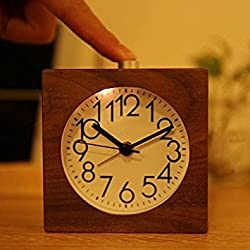 Best-mall Creative Classic Small Square Wood Silent Lazy Bedside Table Travel Alarm Clock With Nightlight (Black Walnut)