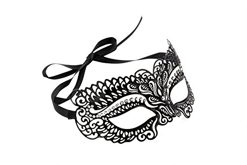 [Luxurious Venetian Masquerade Filigree Mask - Malleable Laser-cut Metal With Rhinestones - Regal/Royalty Series Filigree Pattern 11 - For Masquerade Ball, Mardi Gras, Halloween Costume Party, New Year's Party, Carnivals and] (Rhinestone Masquerade Mask)