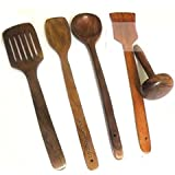 Onlineshoppee Sheesham Wood Kitchen Essentials Spoon Set With Masher